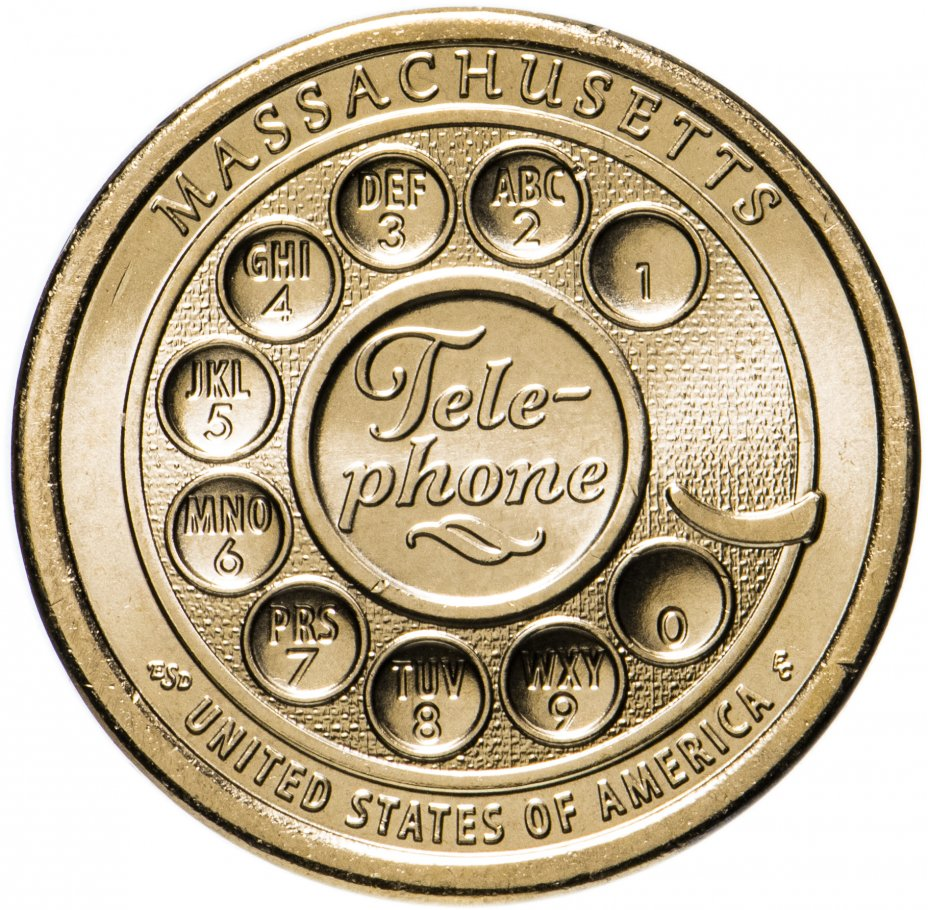"""купить США 1 доллар (dollar) 2020 P """"Американские инновации - Первый дисковой номеронабиратель, телефон (Массачусетс)"""""""