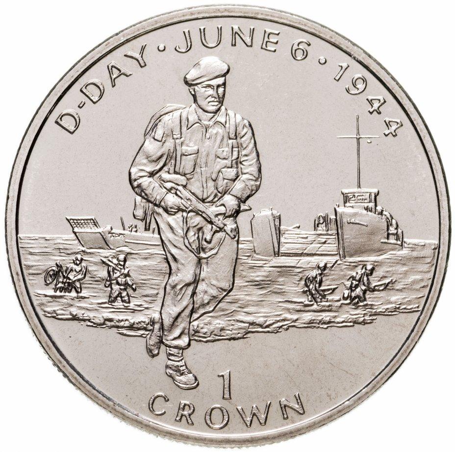 """купить Остров Мэн 1 крона (crown) 1994 """"50 лет высадке в Нормандии 6 июня. Британские солдаты на берегу"""""""