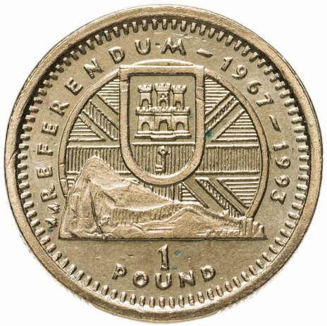"купить Гибралтар 1 фунт (pound) 1993 ""Референдум 1967 года"""