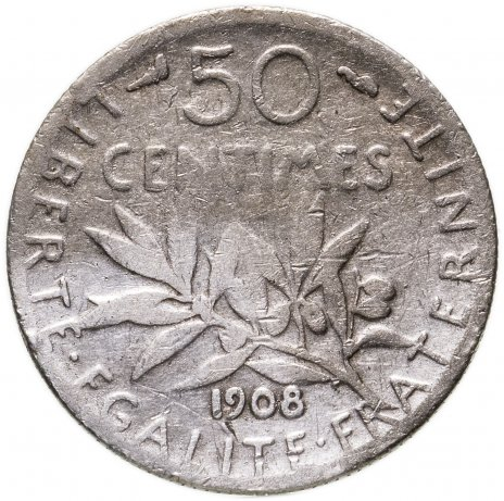 купить Франция 50 сантимов (centimes) 1908