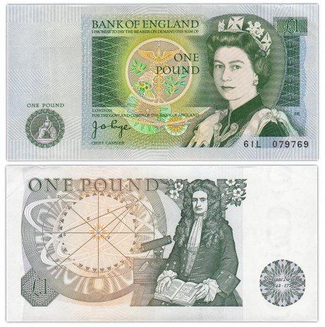 купить Англия 1 фунт 1978-1980 (Pick 377а) Подпись J.B.Page (подпись зеленого цвета) ПРЕСС