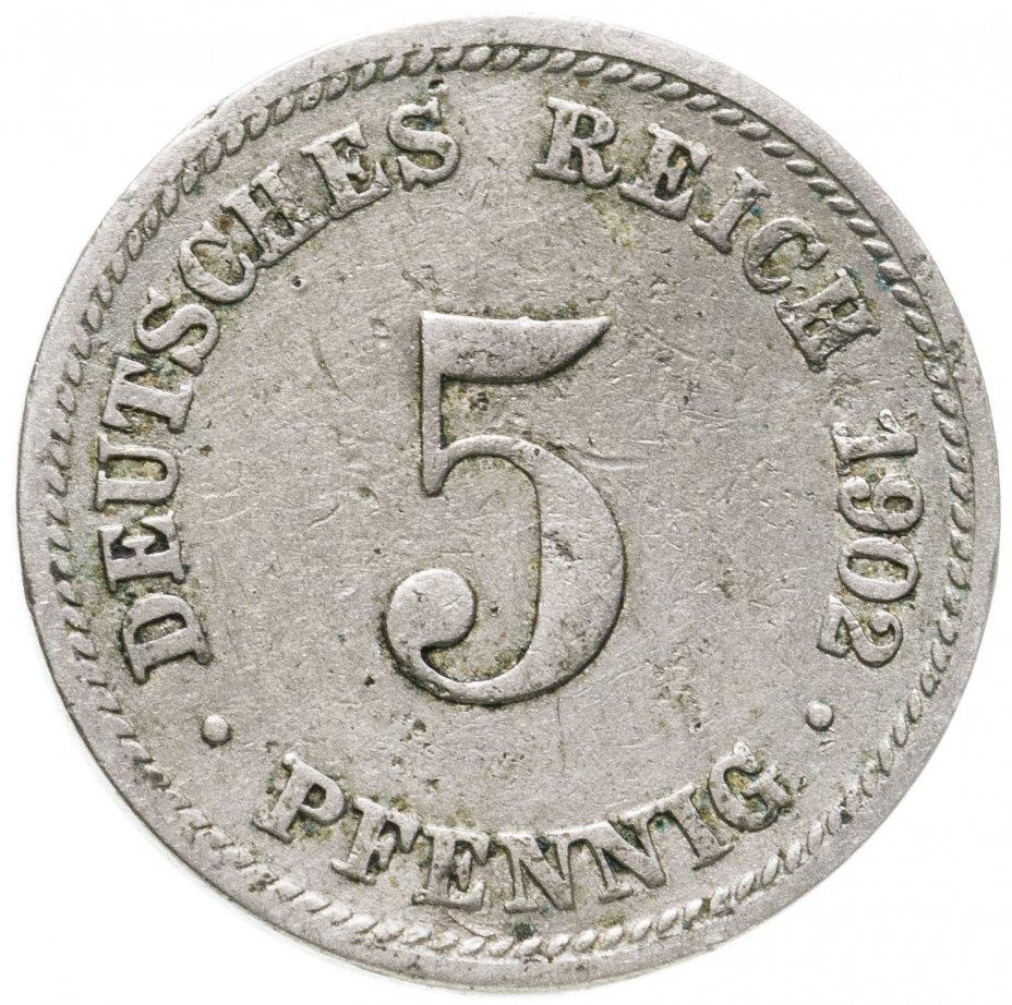 купить Германская Империя, Бавария 5 пфеннигов 1902 D