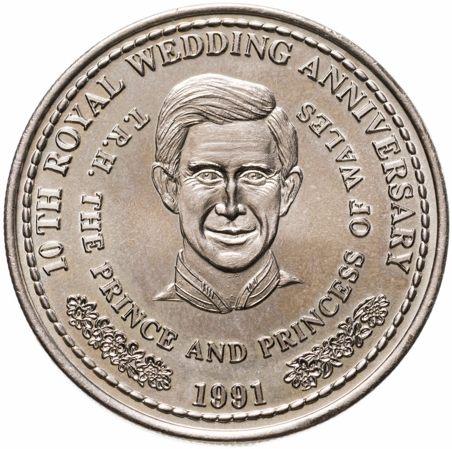 """купить Тёркс и Кайкос 1 крона (crown) 1991 """"10 лет Свадьбе Принца Чарльза и Леди Дианы - Принц Чарльз"""""""