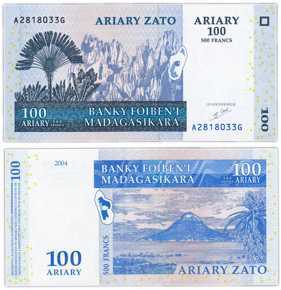 купить Мадагаскар 100 ариари 500 франков 2004