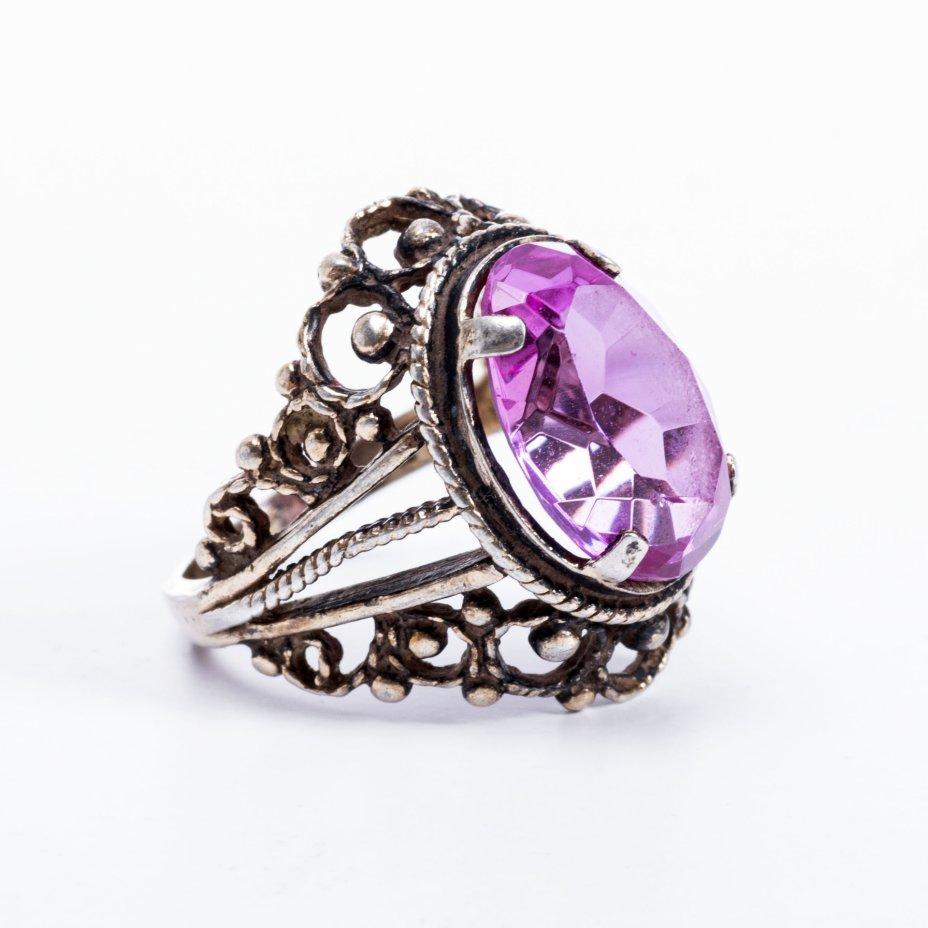 купить Кольцо со вставкой розового цвета и ажурным декором, серебро 925 пр., скань, позолотаСССР, 1970-1990 гг.