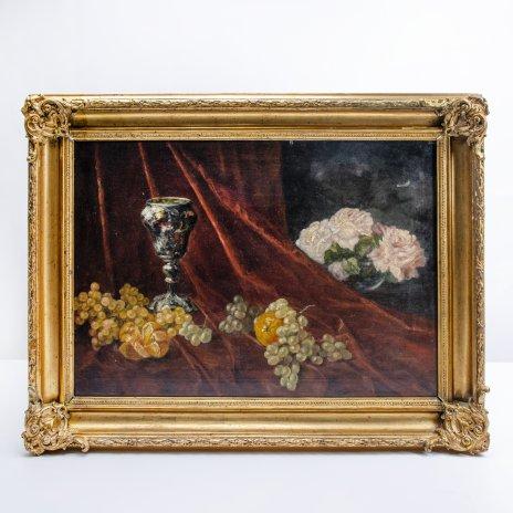 купить Натюрморт, холст, масло, деревянный подрамник, рама (гипс, папье-маше), художник Карл Прахл, Германия, 1926 г.