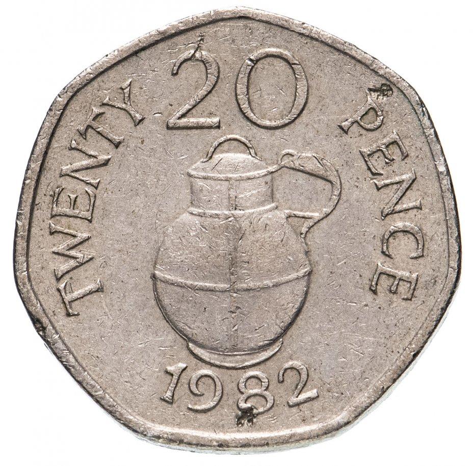 купить Остров Гернси 20 пенсов (pence) 1982