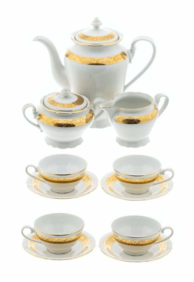 купить Чайный сервиз на четыре персоны с золочёным декором, фарфор, деколь, Чехословакия , 1970-1990 гг.