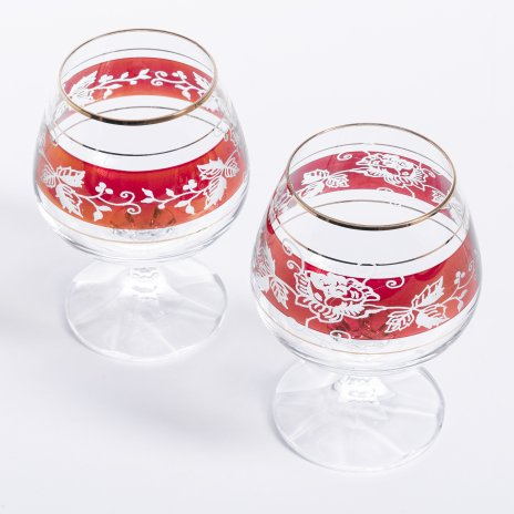 купить Набор из двух бокалов с цветочным декором, стекло, крытье, золочение, гравировка, Богемия, Чехословакия, 1970-1990 гг.