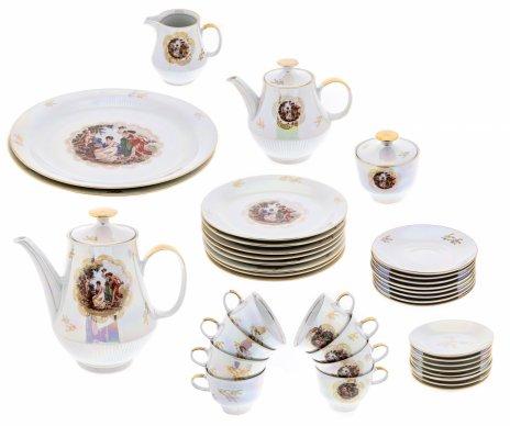 """купить Сервиз чайный """"Мадонна"""" на восемь персон (38 предметов), фарфор, деколь, люстр, фабрика """"Colditz Porcelain Factory"""", ГДР, 1960-1990 гг."""