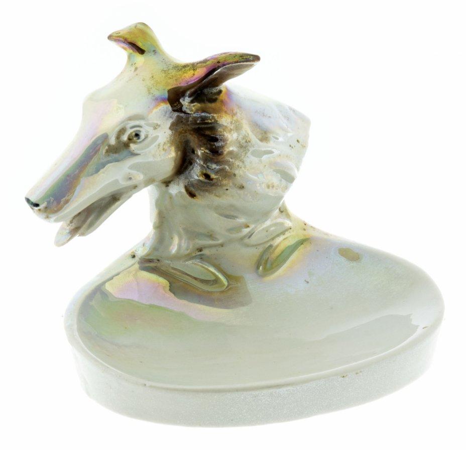 купить Тарелка для мелочей с фигуркой в виде головы собаки, фарфор, роспись, люстр, Западная Европа, 1960-1980 гг.