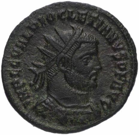 купить Римская Империя Диоклетиан 284–305 гг антониниан или фракция фоллиса (реверс: император принимает Викторию на шаре от Юпитера)