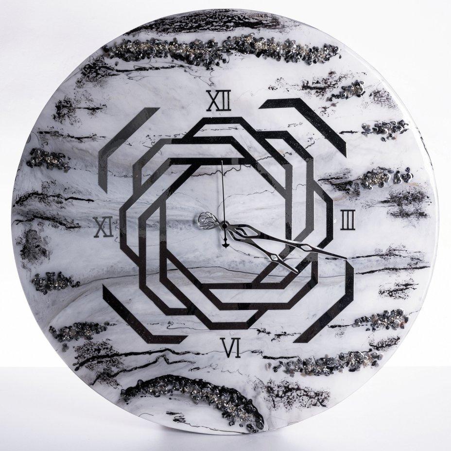 купить Часы настенные с геометрическим орнаментом, авторская ручная работа в технике Resin Art, Глянцевое 3D покрытие, натуральный камень, Россия, 2021 г.