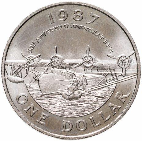 """купить Бермуды 1 доллар (dollar) 1986 """"50 лет коммерческой авиации"""""""
