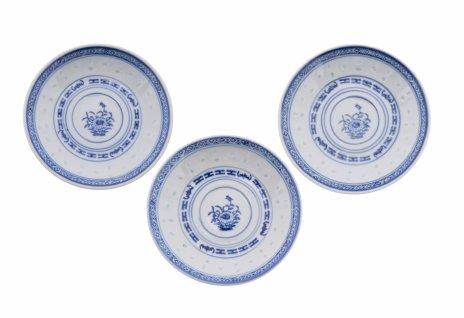 купить Набор из трёх блюдец, рисовый фарфор, деколь, Китай, 1960-1990 гг.