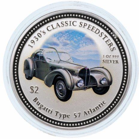 """купить Острова Кука 2 доллара (dollars) 2006 Классические спидстеры 1930-х годов - """"1935 Bugatti type 57 Atlantic"""" с сертификатом"""