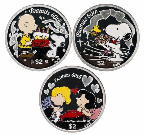 """купить Ниуэ 2010 набор из 3-х монет """"60 лет Peanuts: Snoopy & woodstock"""" (собака Снупи и вудсток), в футляре с сертификатом Редкость"""
