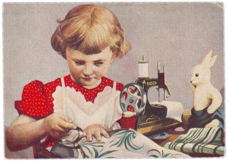 """купить Открытка (открытое письмо) """"Мамина помощница"""" 1957"""