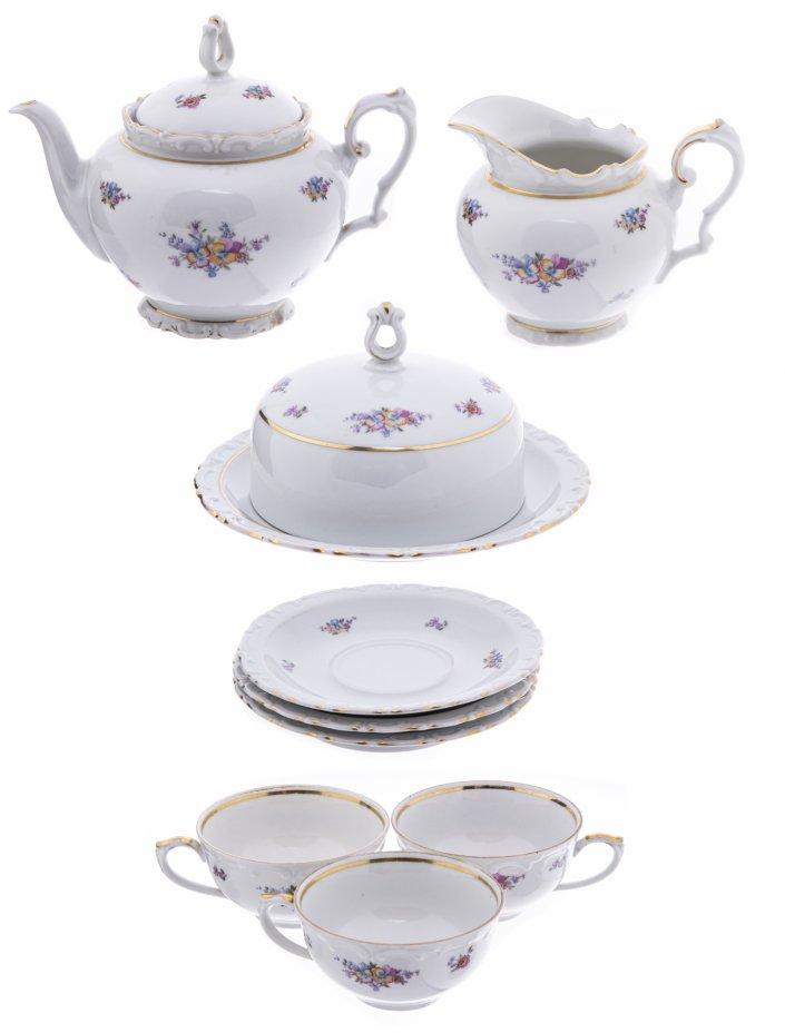 """купить Чайный сервиз на 4 персоны (19 предметов), декорированный изображениями цветов, фарфор, деколь, мануфактура """"Kahla"""", Германия, 1957-1980 гг."""