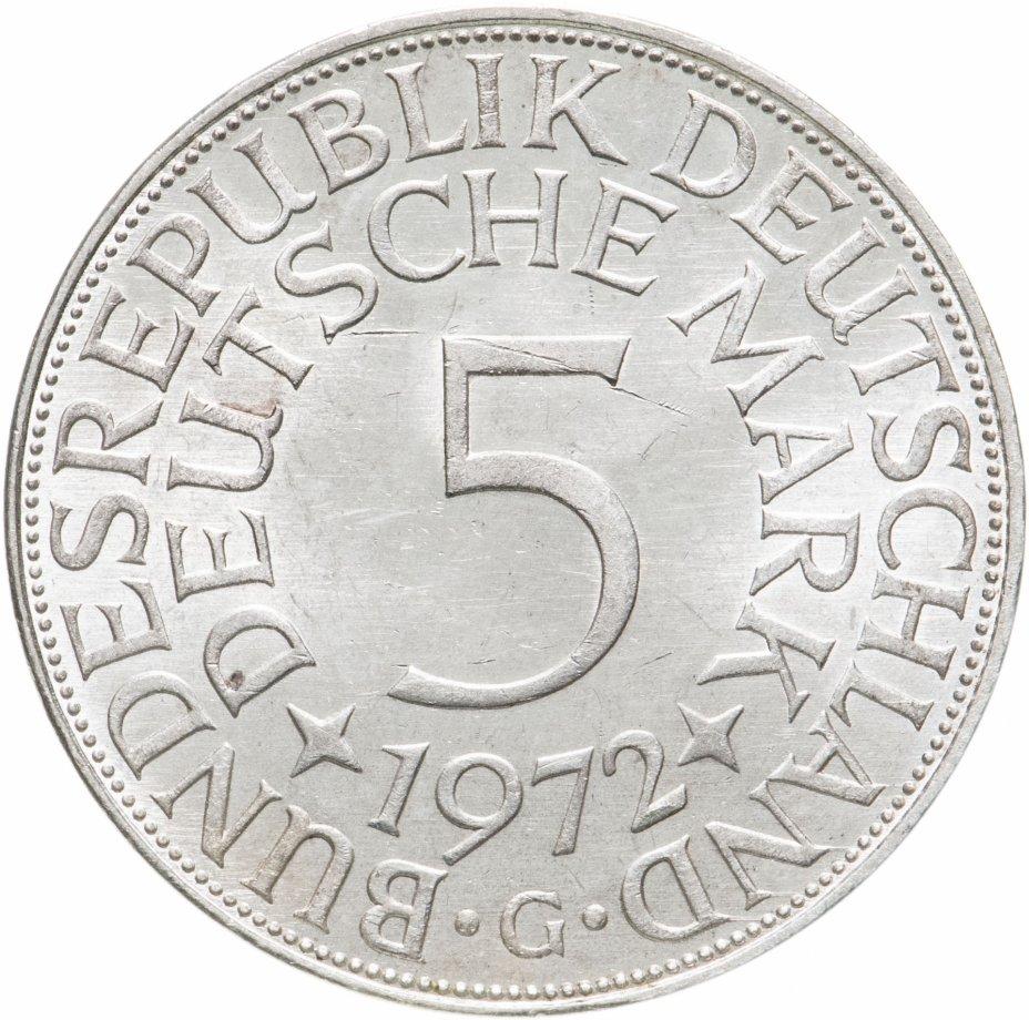 """купить Германия 5 марок, 1972 Отметка монетного двора: """"G"""" - Карлсруэ"""