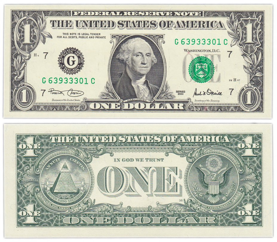 "купить США 1 доллар 2001 (Pick 509) G-Чикаго ""FW"" (Fort Worth)"