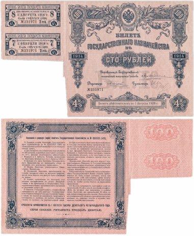 купить БГК Билет Государственного Казначейства 100 рублей 1914 с купонами, директор Небольсин