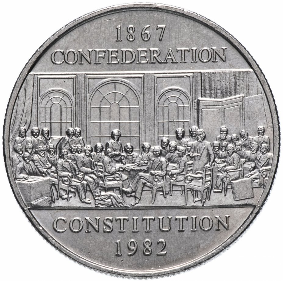 "купить Канада 1 доллар (dollar) 1982  "" 115 лет конституции Канады"""