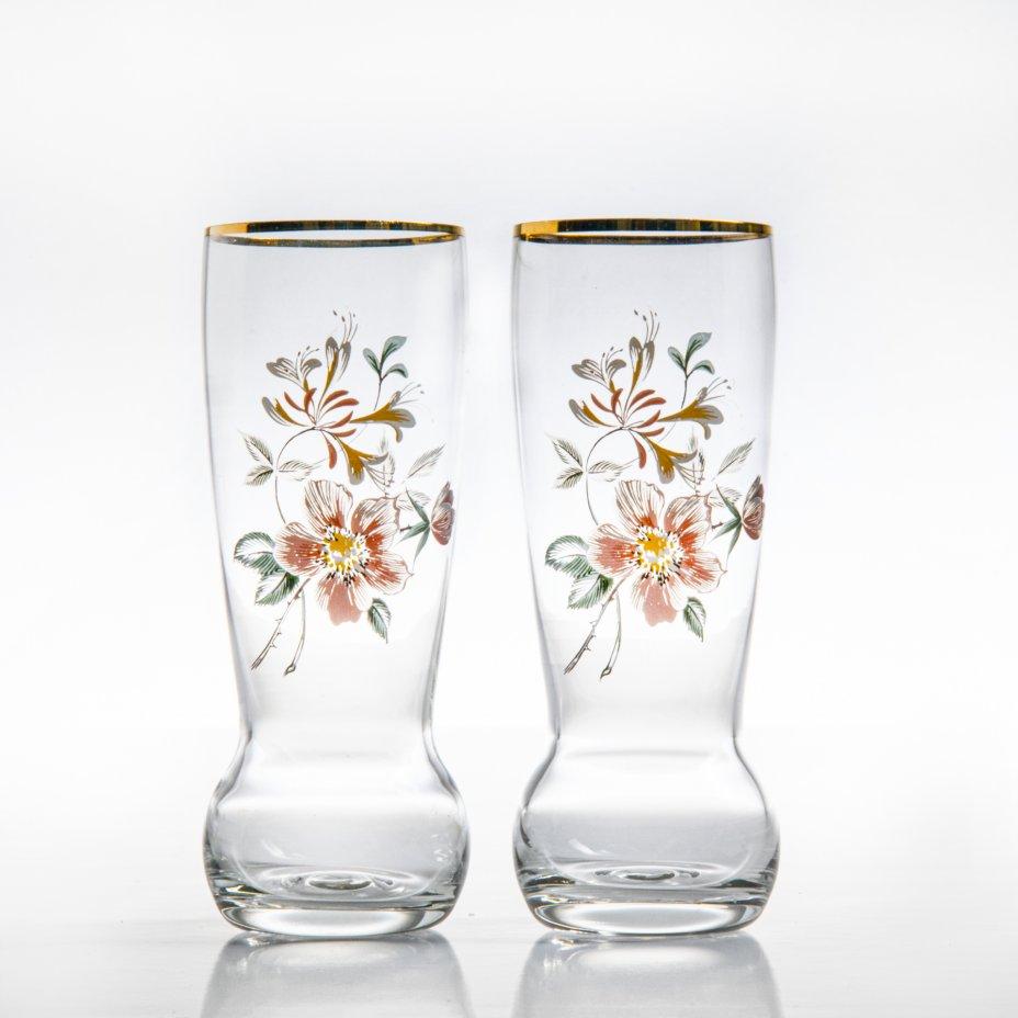 купить Набор из двух стаканов с изображениями цветов, стекло, золочение, матирование, Чехия, 1990-2000 гг.