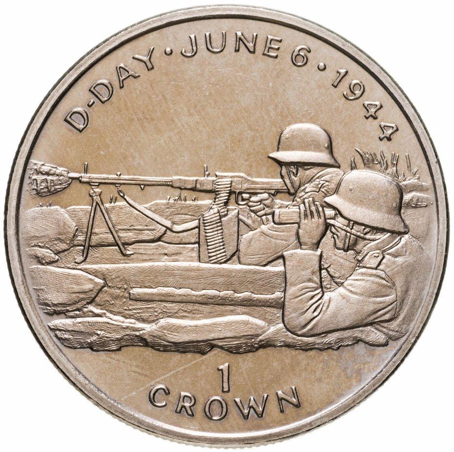 """купить Остров Мэн 1 крона (crown) 1994 """"50 лет высадке в Нормандии 6 июня. Немецкие пулемётчики"""""""