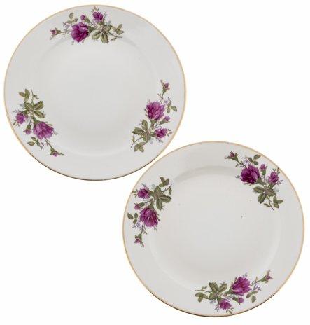 купить Набор из двух тарелок с декором в виде роз, фарфор, деколь, золочение, Китай, 1970-1990 гг.