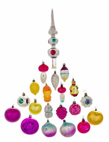 купить Набор из 20 елочных игрушек, стекло, СССР, 1950-1990 гг.