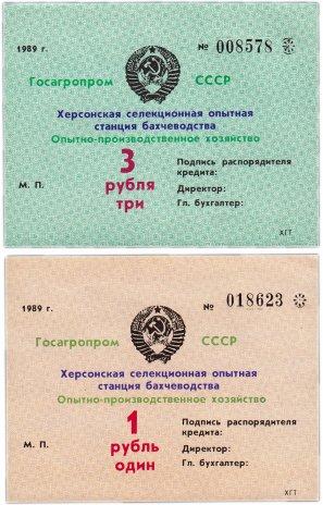 купить Херсон Набор 1 и 3 рубля 1989 Госагропром СССР, Херсонская селекционная опытная станция бахчеводства (2 боны)