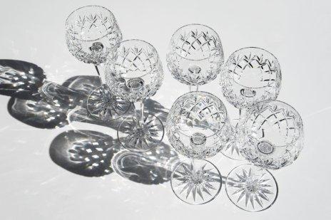купить Набор из 6 фужеров, декорированных рельефным гранёным орнаментом, хрусталь, СССР, 1970-1990 гг.