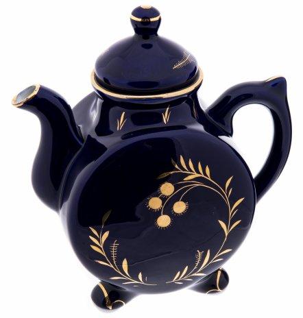 купить Чайник с цветочным узором, фарфор, кобальт, золочение, СССР, 1970-1990 гг.