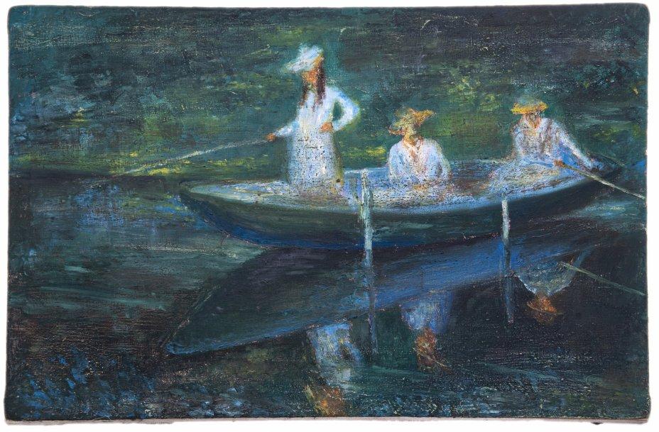 """купить Картина """"Девушки в лодке"""", холст, смешанная техника, Н.Х., копия с картины К.Моне, Западная Европа, 1990-2010 гг."""