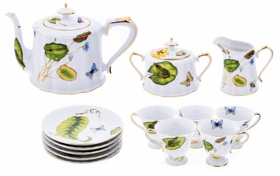 """купить Чайный сервиз на 5 персон (13 предметов) с растительным декором, фарфор, деколь, золочение,  фирма """"Design England"""",  Япония, 2000-2015 гг."""