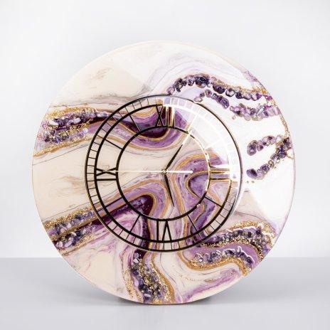 """купить Часы настенные """"Летний вечер"""", авторская ручная работа в технике Resin Art, Глянцевое 3D покрытие, натуральный камень, Россия, 2021 г."""
