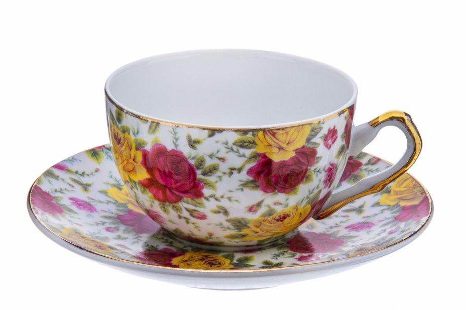 """купить Пара кофейная с декором в виде цветов роз, фарфор, деколь, золочение, фирма """"Royal Wessex"""", Англия, 2005-2020 гг."""