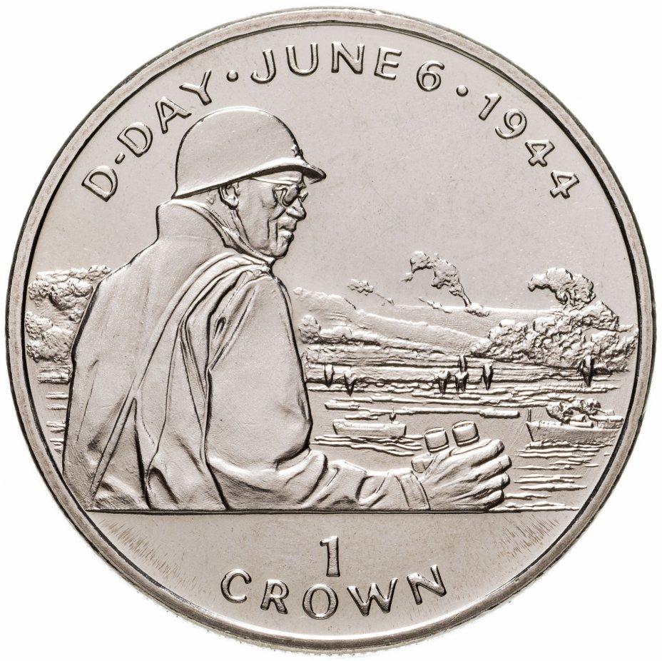 """купить Остров Мэн 1 крона (crown) 1994 """"50 лет высадке в Нормандии 6 июня. Омар Бредли"""""""