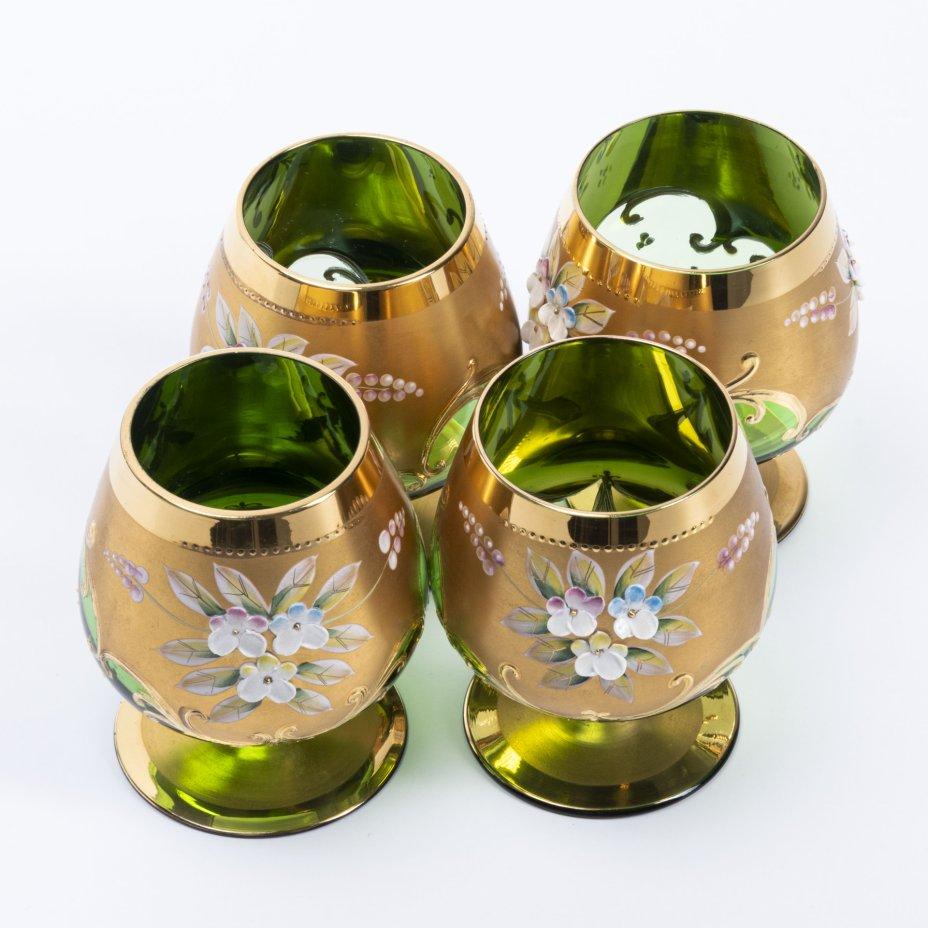 купить Набор из четырёх фужеров с цветочным лепным декором, стекло, золочение, Богемия, Чехословакия, 1970-1990 гг.