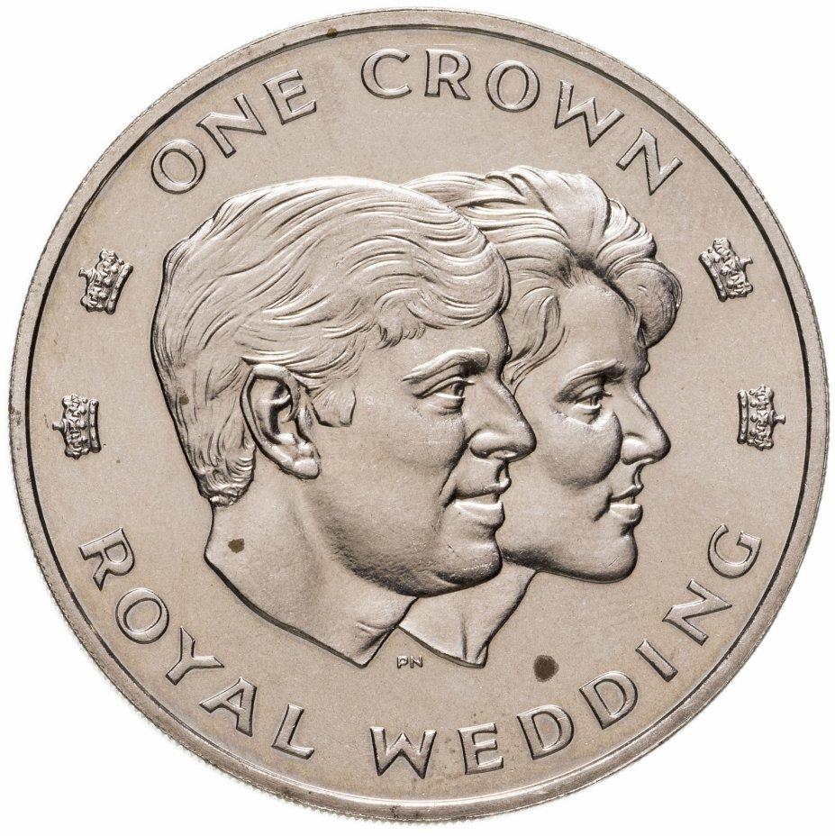 """купить Тёркс и Кайкос 1 крона (crown) 1986 """"Свадьба Принца Эндрю и Сары Маргарет Фергюсон"""""""