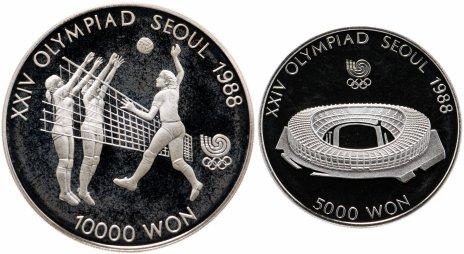"""купить Южная Корея набор из 2-х монет 1987 """"XXIV летние Олимпийские Игры, Сеул 1988"""" в футляре, с сертификатом"""