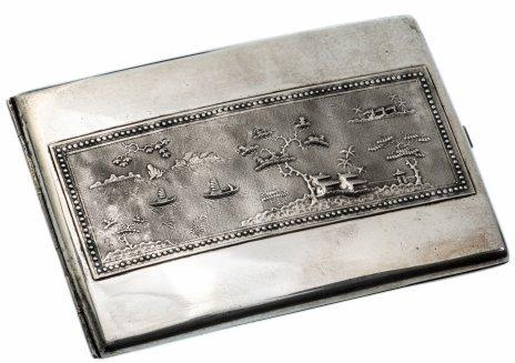 купить Портсигар с изображением пейзажей, серебро 900 пр., Вьетнам, 1960-1970 гг.