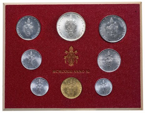 купить Ватикан годовой набор из 8 монет 1973 в буклете (MCMLXXIII anno XI)