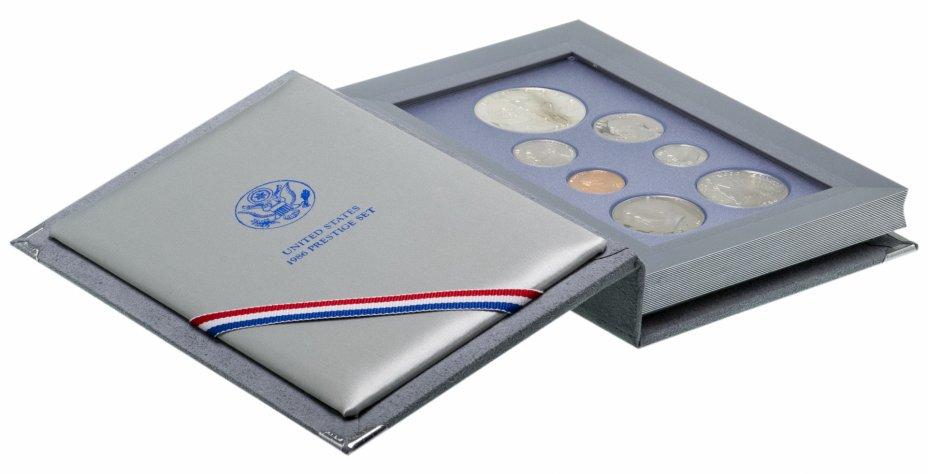 """купить США годовой набор из 7 монет 1986 """"100 лет статуе Свободы"""" в подарочной коробке с сертификатом подлинности"""