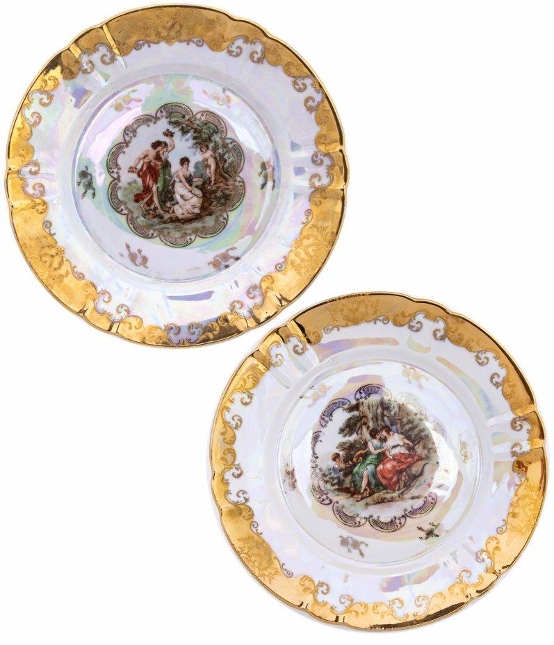 """купить Набор из двух тарелок """"Мадонна"""", фарфор, деколь, золочение, люстр, мануфактура """"Oscar Schlegelmilch"""", Германия, 1950-1972 гг."""