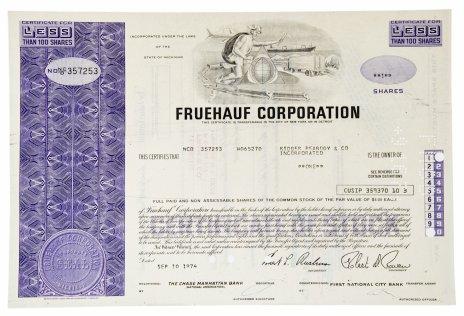 купить Акция США FRUEHAUF CORPORATION 1974 г.