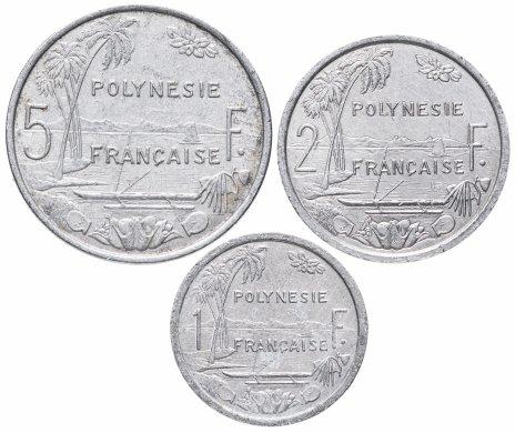 купить Французская Полинезия набор 1, 2 и 5 франков 1973-2019, случайная дата