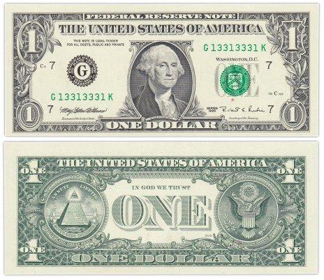 """купить США 1 доллар 1995 (Pick 496a) G-Чикаго """"FW"""" (Fort Worth) Красивый номер 13313331"""