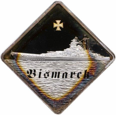 """купить Палау 10 долларов 2009 """"Корабль Бисмарк"""", в футляре с сертификатом"""